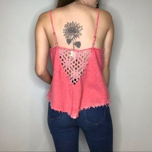 Free People pink crochet denim style linen tank
